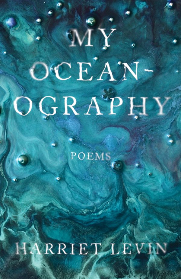 My Oceanography, swirling blue ocean water, painting with white text