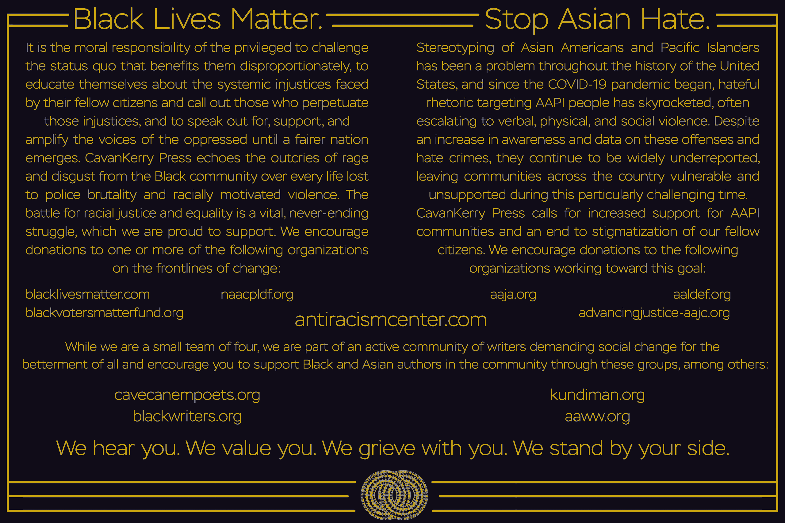 A statement from CavanKerry Press: Black Lives Matter. Stop Asian Hate.