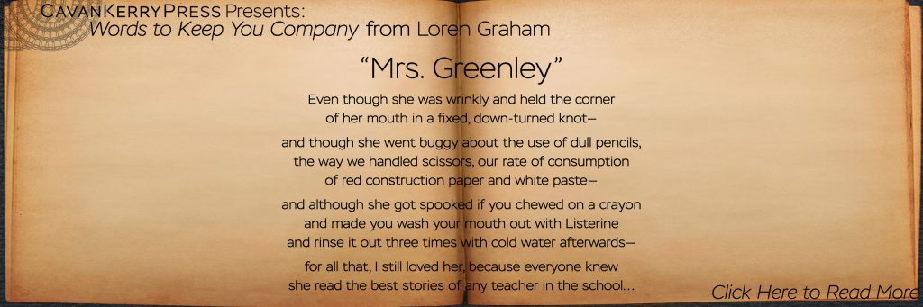 Mrs. Greenley Slide - Photo of open book with excerpt from Loren Graham's poem
